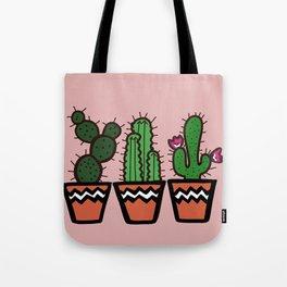 Cute Cacti In Pink Tote Bag