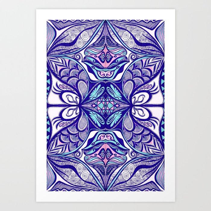 Peacock 3 Symmetrical design Art Print