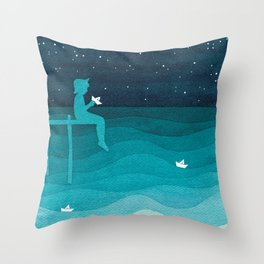 Boy with paper boats, watercolor teal art Throw Pillow