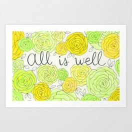 All is Well Yellow Roses Hand Lettered Sign Art Print