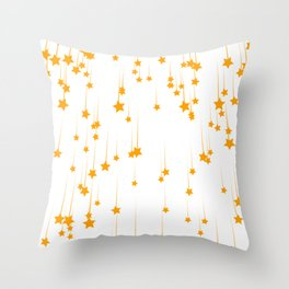 Meteor shower with yellow stars Throw Pillow