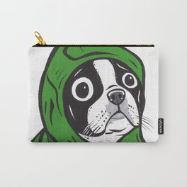 Boston Terrier Green Hoodie Carry-All Pouch