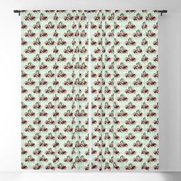 Antique Alice BA4 - The Mad Hatter - Mint Green, Burgundy Blackout Curtain
