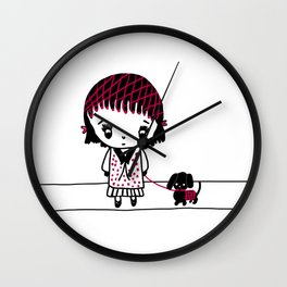 Chibi Girl and Dog in Red and Black Wall Clock