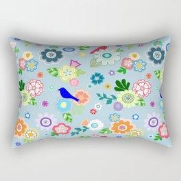 Whimsical Spring Flowers in Blue Rectangular Pillow