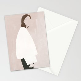 Minimalist in an Oversized Coat Stationery Cards