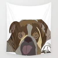 bulldog Wall Tapestries featuring Bulldog by Design4u Studio
