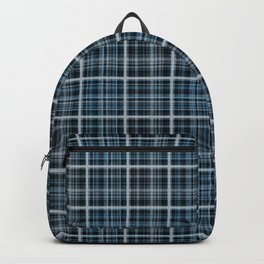 Plaid in blue and gray colors. Backpack