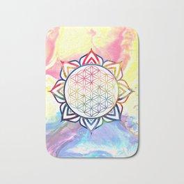Rainbow Lotus Flower of Life Mandala Bath Mat