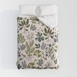 Herbarium ~ vintage inspired botanical art print ~ white Duvet Cover
