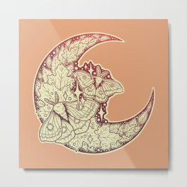Moth & Moon | Autumn Terra Cotta Palette | Nature Art Metal Print