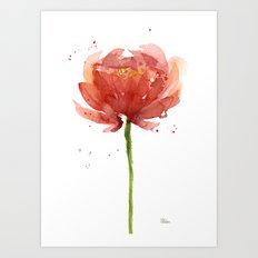 Red Flower Watercolor Floral Painting Art Print