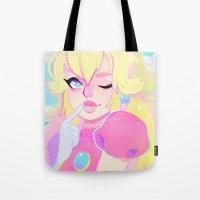 princess peach Tote Bags featuring peach by flowersilk
