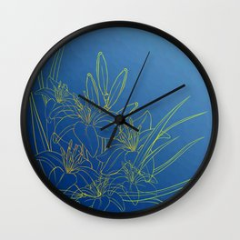 Day Lily Blue Wall Clock
