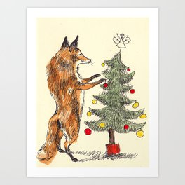 Christmas Fox Art Print