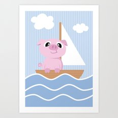 Mobil series pig sailboat Art Print