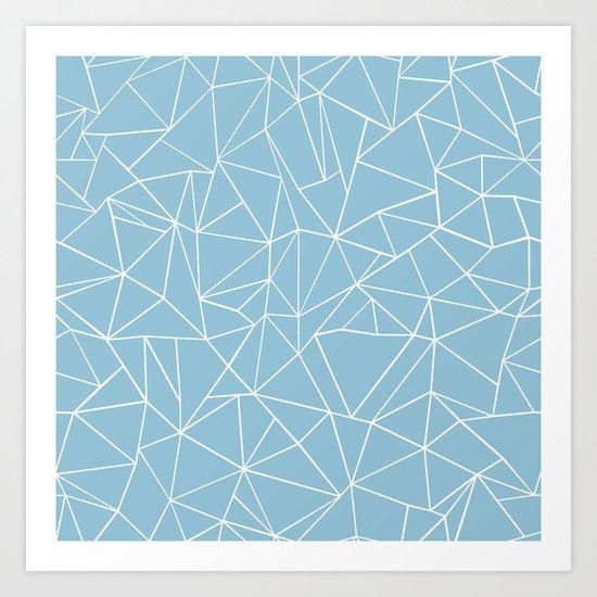 Abstraction Outline Sky Blue Art Print