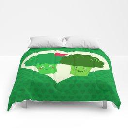 Broccoli in love Comforters