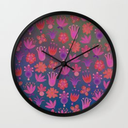 Moon-flowers - Full Moon Wall Clock