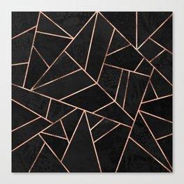 Velvet Black & Rose Gold Canvas Print