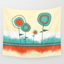 Four Wild Flowers Wall Tapestry