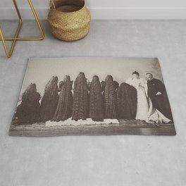 The Incredible Magnificent Seven Sunderland Sisters with their long dark hair black and white photo Rug