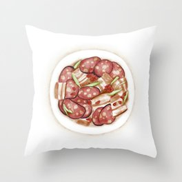 Watercolor Illustration of Chinese Cuisine - Stir-fried sausage with bacon | 腊肠炒腊肉 Throw Pillow