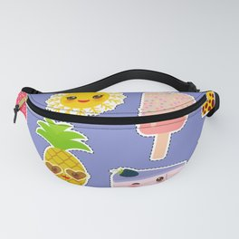 Hello Summer. Pineapple, cherry smoothie cup, ice cream, sun, cat, cake, hamster. Kawaii cute face. Fanny Pack
