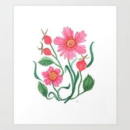 coreopsis & rose hips Art Print
