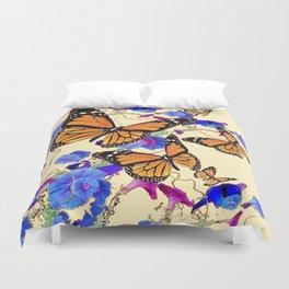 YELLOW MONARCH BUTTERFLY GARDEN & BLUE MORNING GLORIES ART Duvet Cover