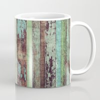 wooden Mugs featuring Wooden Vintage  by Patterns and Textures