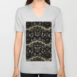 Luxury chic faux gold black floral french lace Unisex V-Neck