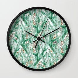 Green brown watercolor hand painted pine leaves floral Wall Clock