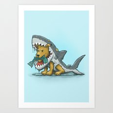 Shark Suit Dog Art Print