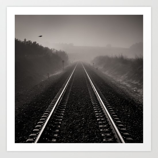 """Bird through the foggy railway"" Art Print"