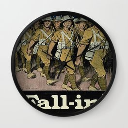 Vintage poster - Fall-in! Wall Clock