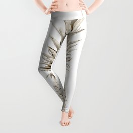 Minimalist White Gold Painted Pineapple Leggings