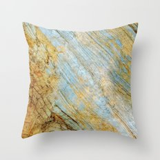 Blue and Gold Marble Throw Pillow
