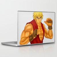 street fighter Laptop & iPad Skins featuring Ken Street Fighter by jasonarts