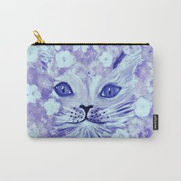 lilac cat in flowers Carry-All Pouch