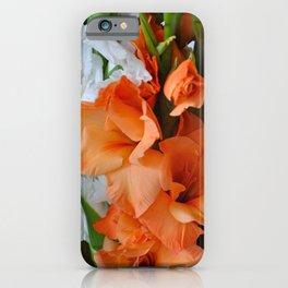 Orange and white gladiolas iPhone Case
