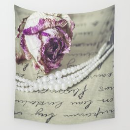 love letter with pearls and rose Wall Tapestry