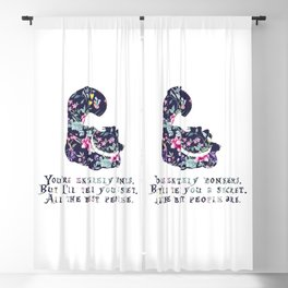 Alice floral designs - Cheshire cat entirely bonkers Blackout Curtain