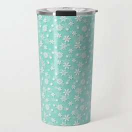 Seafoam Blue Green Christmas Snowflakes Travel Mug