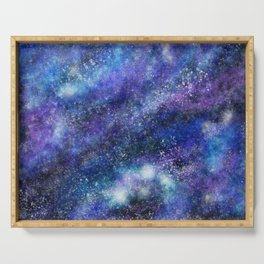 Blue Space Galaxy Serving Tray
