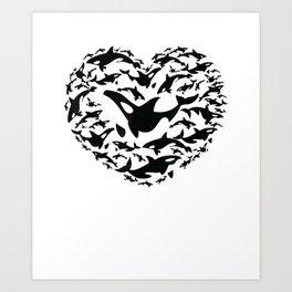 Love Orca Killer Whale Shirt Gifts for Ocean & Aquatic Lover Art Print