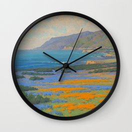 Spring Morning, Poppy and Lupine Flowers, California Coast by John Marshall Gamble Wall Clock