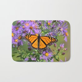 Monarch Butterfly on Wild Aster Flower Bath Mat