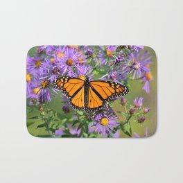 Monarch Butterfly on Wild Aster Flower Bath Mat