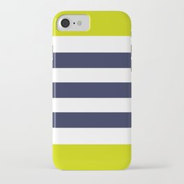 Modern Classy Navy Blue Lime Green STRIPES iPhone Case